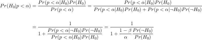 "\begin{align*} % the ""starred"" equation environments produce no equation numbers Pr(H_0 